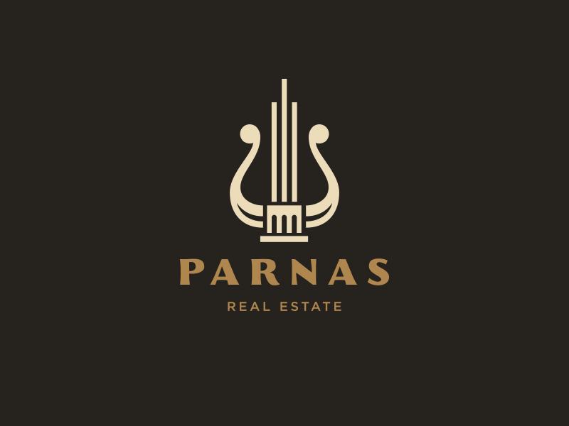 Parnas arch skycraper building real estate muse lyre idea branding logo