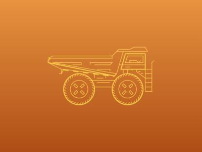 WIP Sketch - Dump Truck brand clothing industrial line drawing illustration dump truck