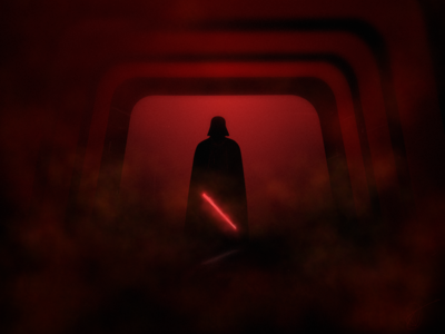 Vader - About to unleash some hell silhouette atmosphere fog lightsaber dark red rogue one vader star wars