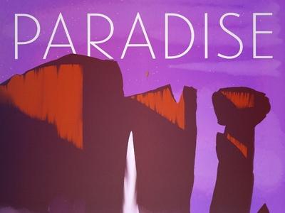 Paradise Falls mountains landscape waterfall cartoon digital paint drawing pixar disney up