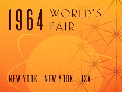 1964 World's Fair orange retro shapes vintage poster nyc