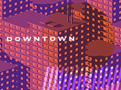Downtown modelling mason cinema 4d orange purple overlay city buildings 3d c4d