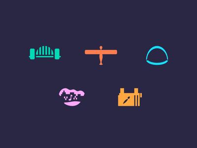 Newcastle Gateshead Icons uk england north east gateshead newcastle music art bridge locations iconography icons