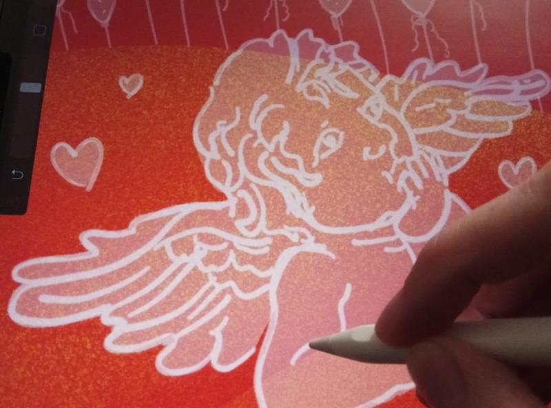 Valentine's Day banner design webbanner workinprogress love digital illustration ui illustration product illustration procreate illustration valentine day