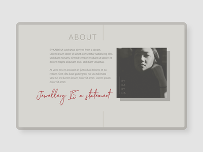 About page – Jewellery Maker website adobe xd concept about page website design webdesign minimalistic clean web design