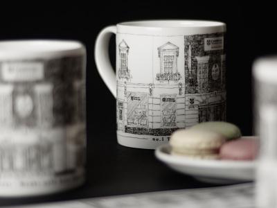 An anniversary mug design for Cambridge University Press Booksho behance project design blackandwhite pen and ink drawing cambridge mug design print illustration