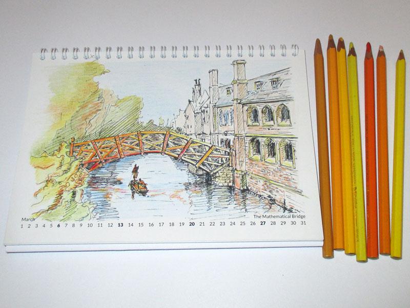 Cambridge Calendar 2016 colouring drawings 2016 calendar cambridge