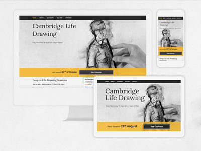 responsive website for life drawing group cambridge lifedrawing css html5 adobe xd responsive webdesign website