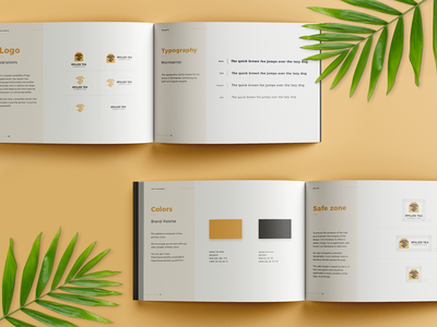 Brand Manual logo variations typography colorpalette brandbook guides guidelines manual brand identitydesign brandidentity plants charcoal gold yellow book visual identity