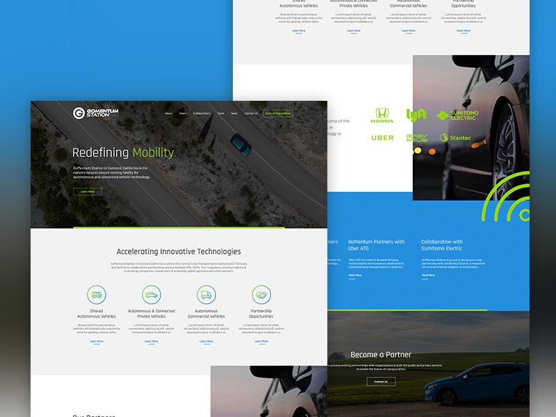 GoMentum Station self-driving cars iot ui autonomous vehicle autonomous technology website web design
