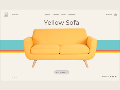 Yellow Sofa minimal yellow website webdesign web ux ui typography store store design sofa website sofa furniture website furniture design cosy chair branding armchair