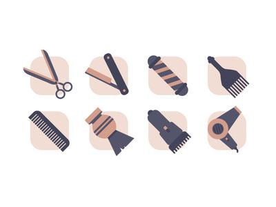 Barbershop icons hair salon shave comb illustration. icon hair dryer scissors barber icon design barbershop icons