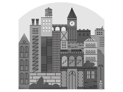 Gray town editorial illustration buildings town doodle gray illustration