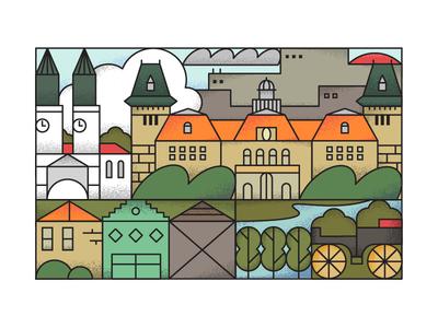 Sombor editorial illustration home postcard texture grain outline illustration hometown town city