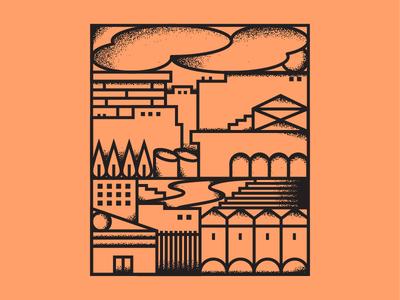 Smog town building town illustrator smog city linework illustration