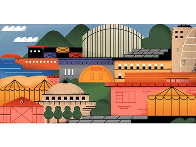 Random Place Street editorial texture grain street editorial illustration cargo ship building town illustrator illustration