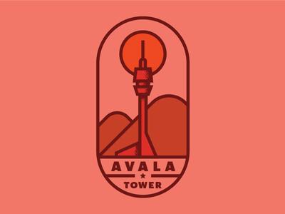 Avala Tower tower branding icon illustration mountain retro red logo