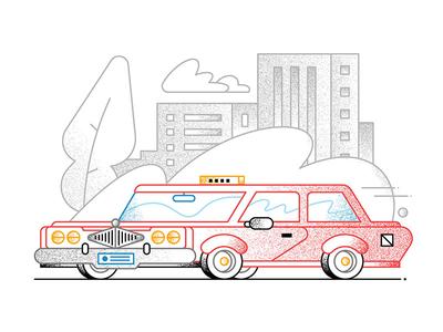 Follow that car! car city textures illustration linework taxi cab