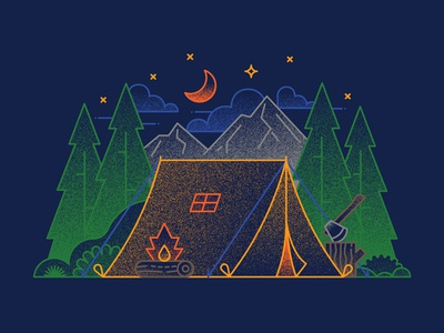 Camping fire illustration outline grain mountain woods trees moon fire camping