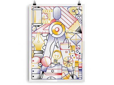 Design as it should be pen film divider tools idea illustration design poster