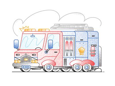 Fire truck outline grain textures fire fire men vehicle illustration truck fire truck