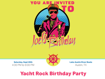 Yacht Rock Birthday RSVP Site rsvp website captain neon nautical yacht rock aktiv grotesk