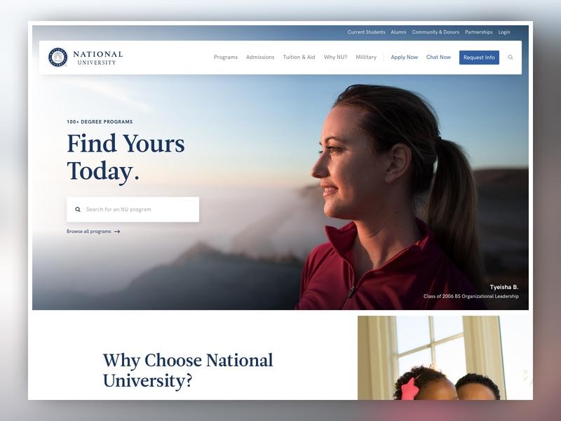 National University Web Redesign responsive ux cro web design higher ed