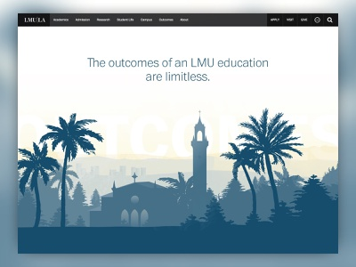 LMU Outcomes Site ux rwd web design outcomes higher education higher ed highered