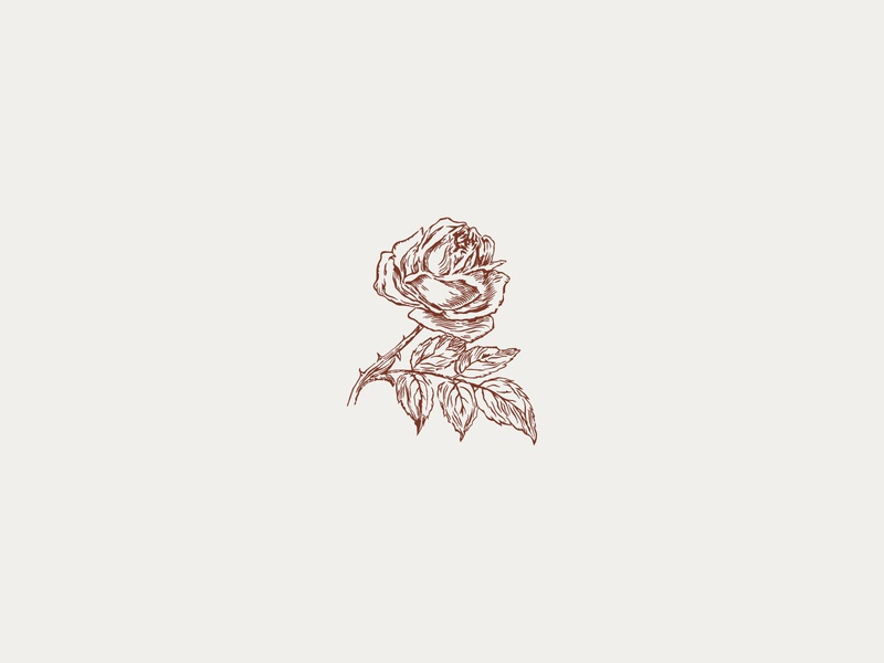 Custom Rose Illustration for Wedding Venue rose event venue wedding venue illustration watermark typography design logo branding