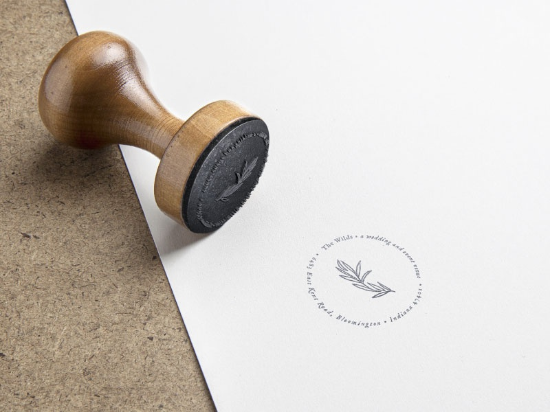 Rubber Stamp design for The Wilds Wedding and Event Venue stamp rubber stamp illustration hand drawn event venue swoone wedding venue gold gradient branding logo
