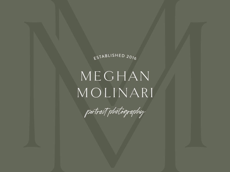 Meghan Molinari Photography Logo olive green logo design brand design monogram logo monogram design monogram serif script san serif typography design icon portrait photographer photographer swoone logo branding