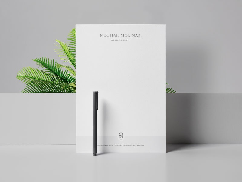 Meghan Molinari Photography Letterhead Design letterhead design letterhead stationery design stationery collateral serif script san serif illustration watermark typography design icon portrait photographer photographer swoone logo branding