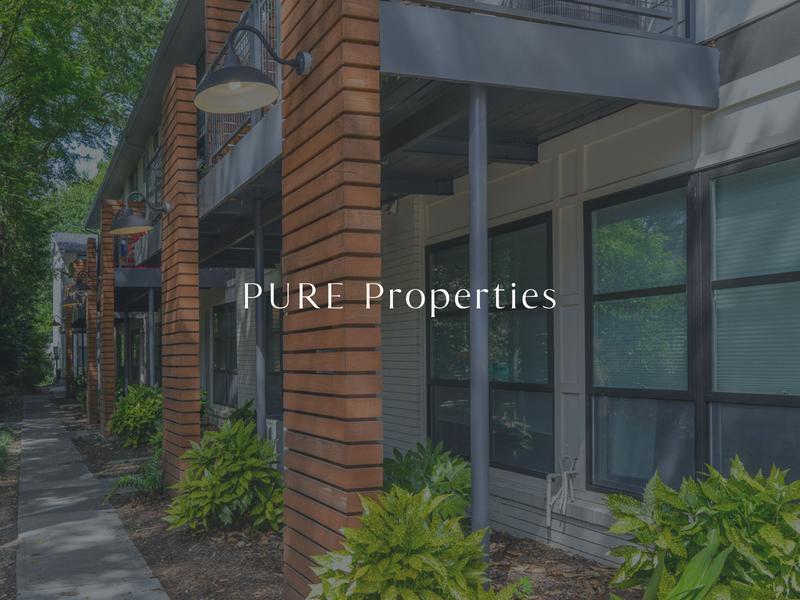 PURE Properties Logo Design property management logo design serif san serif watermark typography design logo branding