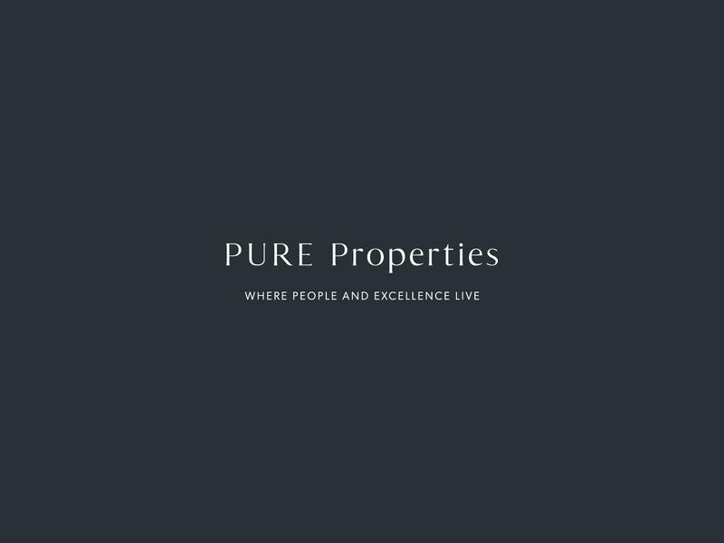 PURE Properties Logo Design timeless logo design property management serif watermark icon vector san serif design typography logo branding