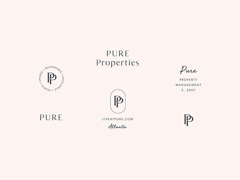 PURE Properties Brand Marks monogram letter mark monogram design monogram logo monogram timeless logo design property management icon serif script san serif watermark typography design logo branding