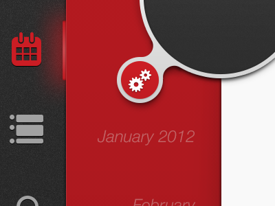 Settings settings buttons circle icons calendar red
