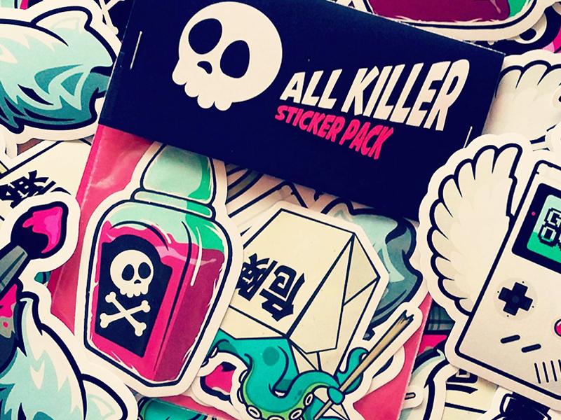 All Killer Sticker Pack vinyl stickers sticker pack slaps vinyl creepy illustration stickers