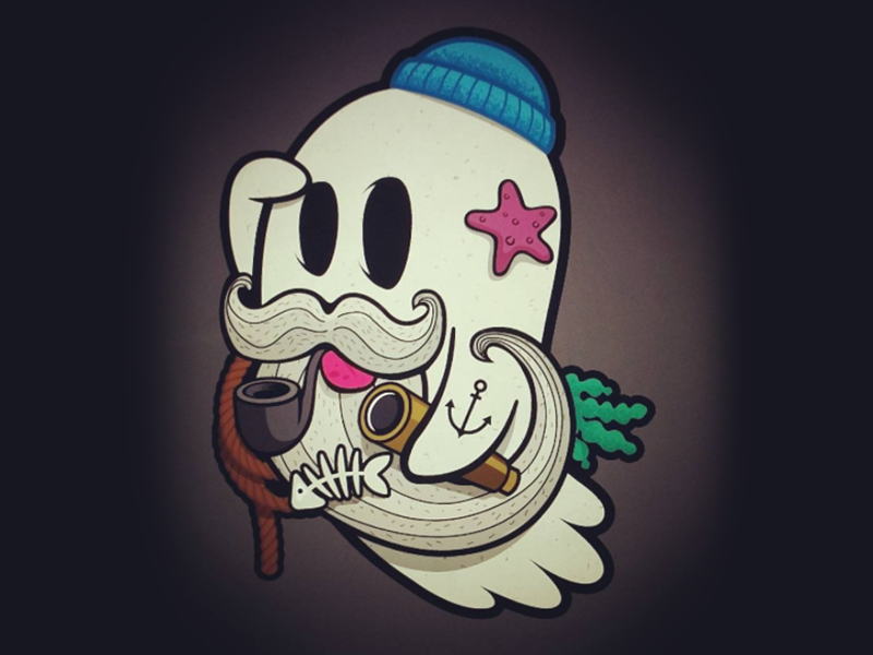 Deadly Seas Fisherman Ghost sticker pack uk illustrator digital art fisherman creepy design spooky ghost stickers illustration