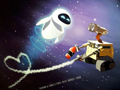 WALL•E AND EVE pixar fan art illustration uk illustrator walle disney fan art disney art disney
