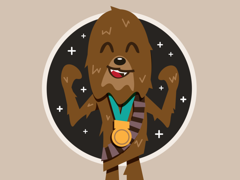 Chewie - Finally getting his medal kids illustration kids books star wars illustration star wars fan art disney art star wars art disney star wars chewie chewbacca