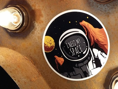 I need my space print scifi art scifiart scifi uk illustrators retro spaceman sticker design uk illustrator stickers illustration