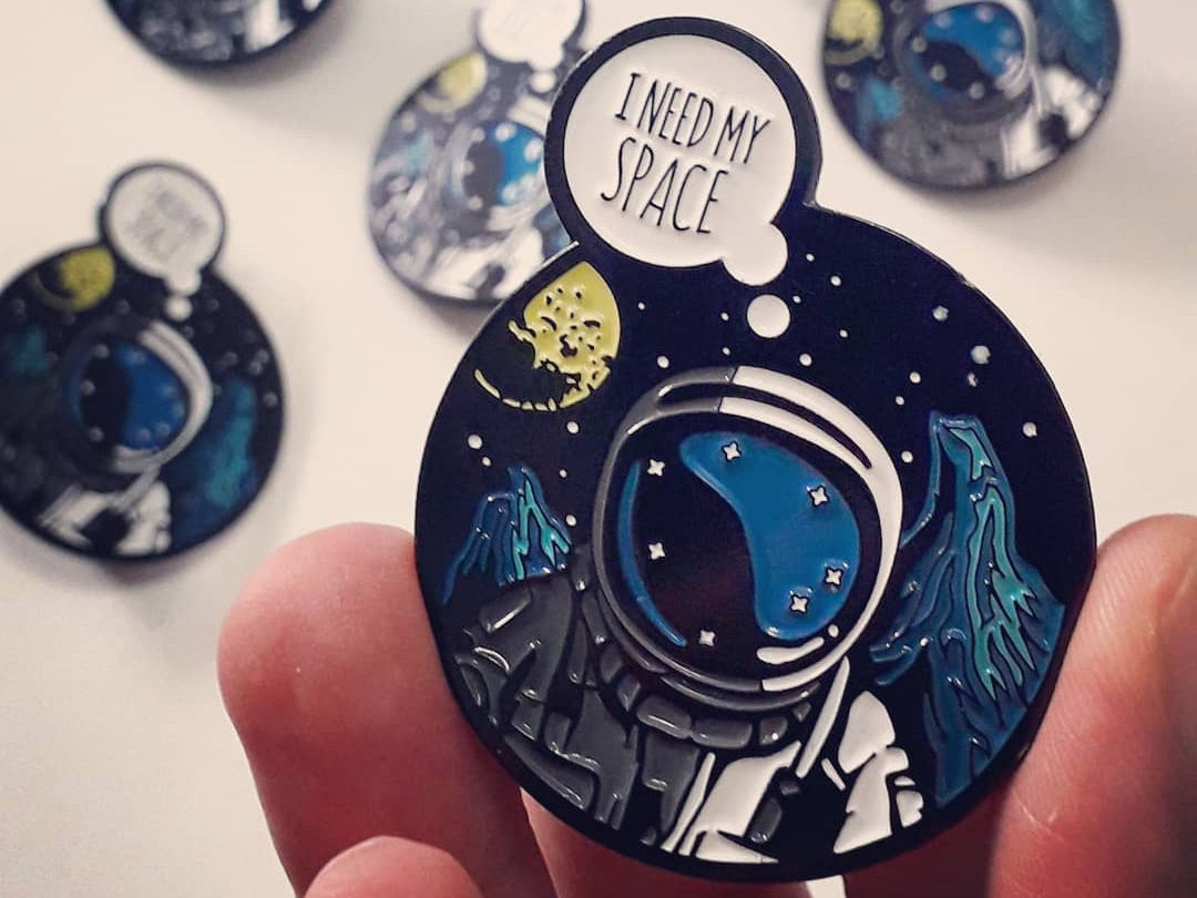 Spaceman Enamel Pin Badge pins space retro scifi comic book art scifiart scifi enamel pins pin badges spaceman