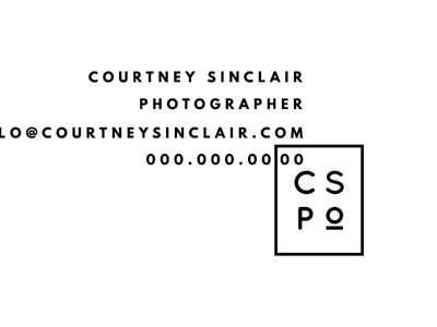 Courtney Sinclair Business Cards bold sans serif artistic abstract minimal modern black and white