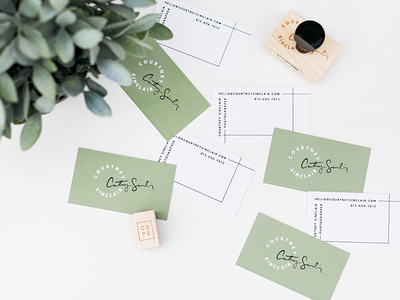 Courtney Sinclair Print Goods black and white modern green stamps business cards print goods
