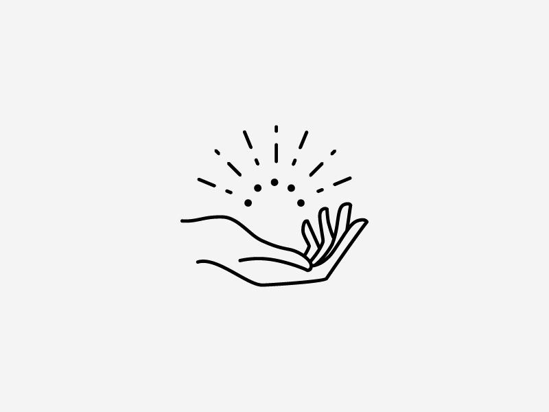PRESS Modern Massage Logo Mark Concept hand geometric line art design branding illustration minimal simple modern
