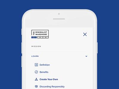 The Minimalist Wardrobe Website Mobile Menu menu branding design minimal mockup website mobile menu ux ui simple modern