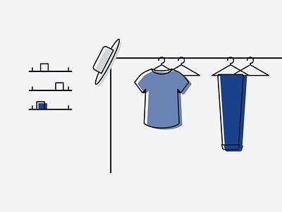 The Minimalist Wardrobe Illustration Section color blocking clothes clothes rack branding illustration minimal simple modern