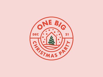 One Big Christmas Party Logo minimal illustration christmas party christmas logo geometric christmas tree badge logo line art branding simple modern sans serif