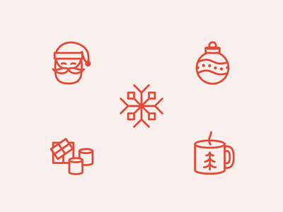 One Big Christmas Party Icon Set modern design minimal illustration snowflake hot cocoa smores santa christmas icons iconography icon set icons vector ui