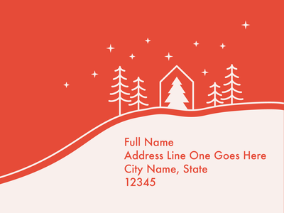 One Big Christmas Party Mailer Design christmas trees illustration minimal simple modern christmas flyer christmas christmas mailer mailer